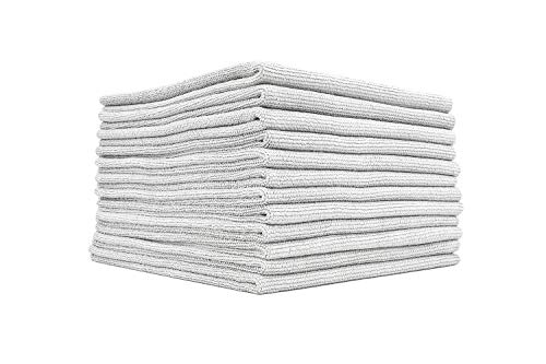 The Rag Company - The Edgeless Pearl - Professional Microfiber Detailing Towel for Ceramic Coating Leveling and Sealant Removal, Scratch-Free with No Tags, 320gsm, 16in x 16in, Ice Grey (12-Pack)