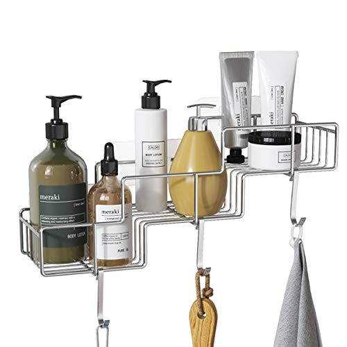 FANHAO Shower Caddy Basket with Hooks for Shampoo Conditioner Bathroom Shelf Storage Organizer Adhesive No Drilling Wall Mounted Rustproof SUS304 Stainless Steel