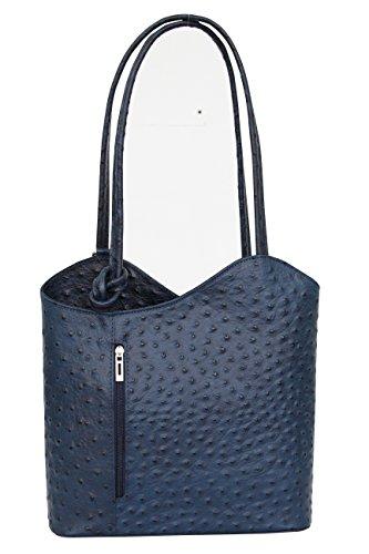 AMBRA Moda Damen Handtasche Lederrucksack Rucksacktasche Backpack 2in1 Rucksack Schultertasche SL703, Dunkelblau, Einheitsgröße