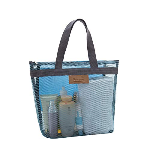 Bolsa de almacenamiento de malla para la playa, (Sky Blue), 30x28x9.5cm