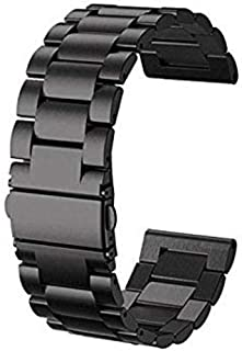 Set of two 22 mm Gear S3 Frontier/Classic Watch Bands -stainless steel -Black tinted
