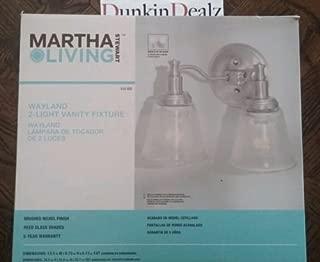Martha Stewart Living Wayland Collection 2-Light Brushed Nickel Plated Vanity Light Fixture