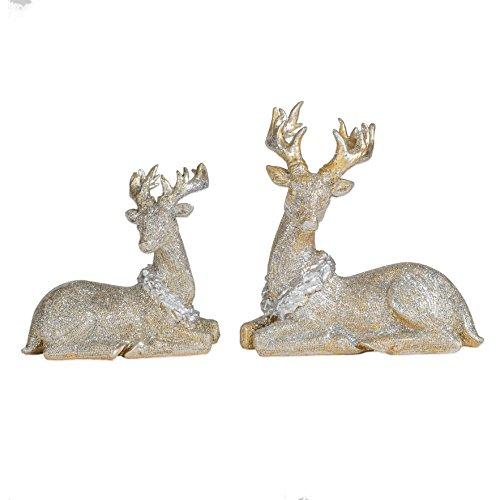 Gold Tone Glitter Small Sitting Reindeer 7.5 x 5.5 Resin Christmas Figurine Set of 2