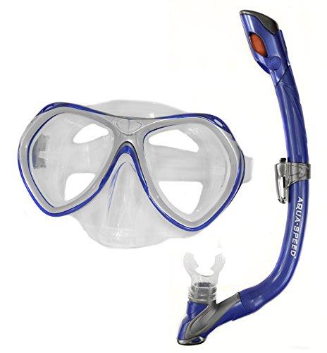 Aqua-Speed Kinder Taucherset - Tauchermaske + Schnorchel - Klassische Form - Mit Easy-Adjust System - Für Pool Und Meer - #AsAura Evo, Blau, 11