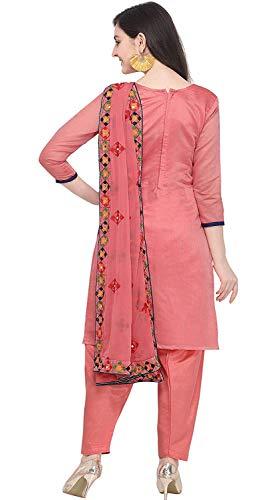 EthnicJunction Holi Special Women's Rajasthani Mirror Work Chanderi Embroidery Unstitched Salwar Kameez Dress Material (EJ1180, Pink, Free Size)