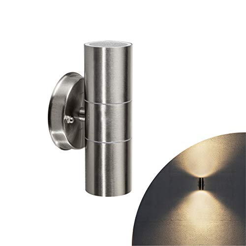 proventa® Außen-Wandlampe, 1 Stück, 2-flammig, GU10-Fassung, Edelstahl/Glas, für LED- und Halogen-Leuchtmittel bis 35W, silber
