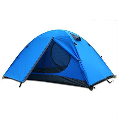 ZYCW Tienda de campaña, compacta de cúpula, también Ideal para Acampar en el jardín, Tienda de campaña Ligera y Senderismo, 100% Impermeable HH 3000 mm, Hoja de Suelo Cosida (Two People,Blue)