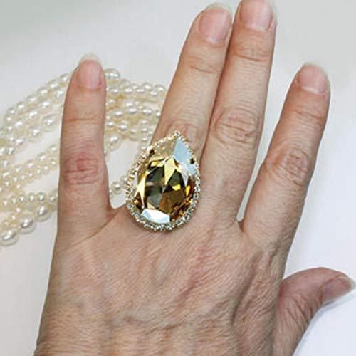 CTDMMJ Übergroße Champagner Farbe Zirkon Silber Farben Verlobungsringe Hochzeit Herzringe Party Ringe Geschenke