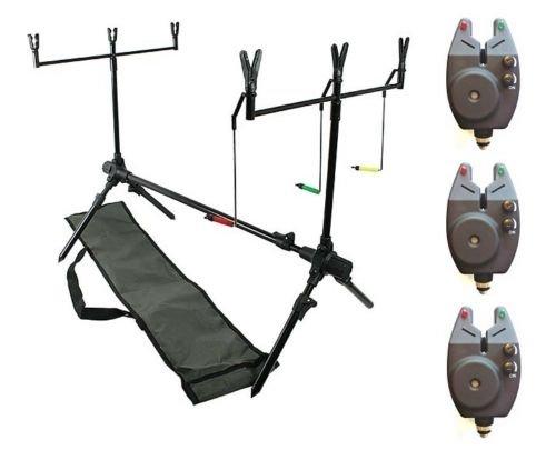 DD-Tackle Karpfen Rod Pod +3 Bissanzeiger +2 Buzzer Bar + 6 Ruten Halter Auflagen +Tasche
