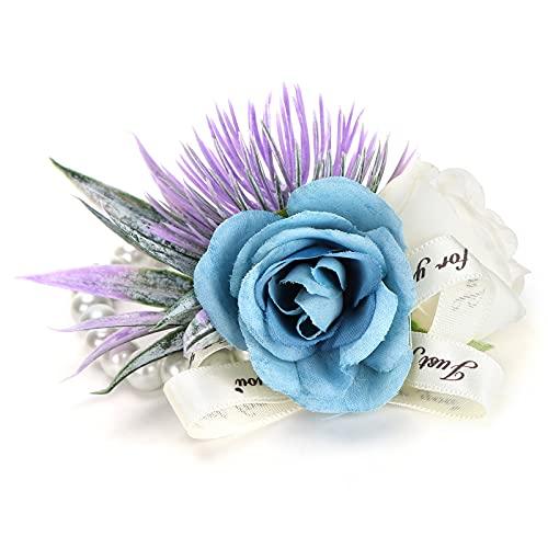 Flor de mano, delicada y romántica Flor de muñeca de dama de honor de moda pura y elegante para bodas, baile, aniversario, quinto aniversario, cóctel(Lago azul)