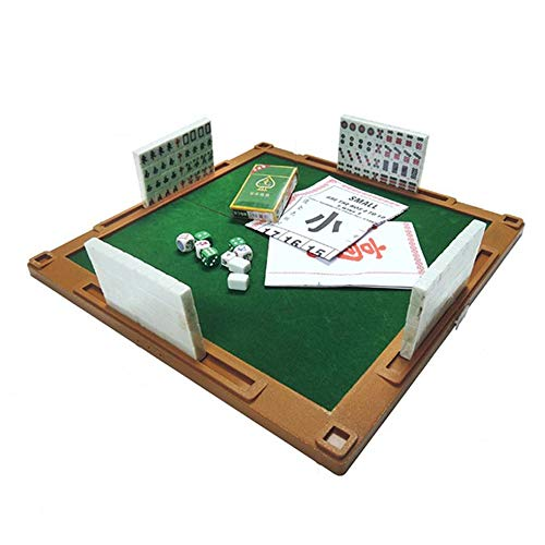 Mahjong Set, Miniature Chinese Game Kit met opvouwbare Table 144 Mini-Tiles, Case, en accessoires - Geschikt voor Outdoor, Travel, Home and Get Together