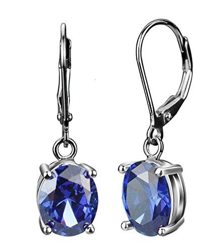 Elensan Princesa Diana William Kate Middleton - Juego de pendientes de plata de ley 925 con zafiro azul