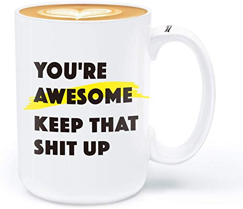 immaculife Funny Coffee Mug You Are Awesome Mug Unique inspirational Festival/Birthday/Thanksgiving/Christmas Gifts for Men Women Ceramic Novelty Coffee Cups 15 OZ