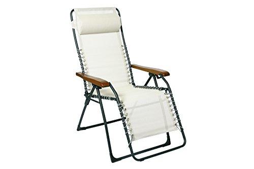 Sungörl Relaxsessel Oasi Sand aus Stahl/Suntex/Holz naturweiß in Zwei Größen Standard - ca. 120 x 67 cm