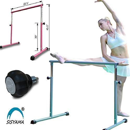 SISYAMA Single Ballet Barre Booty Bar Portable Freestanding Adjustable Workout Fitness Stretch Dance Bar (Stone)