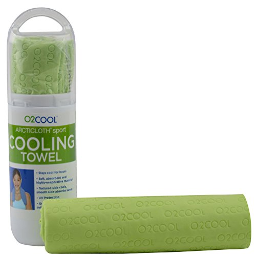 """O2COOL Cooling Towel – Large 33"""" x 13"""" ArctiCloth PVA Sports Wrap Around Neck Towels - Long Lasting Cooling for Gym, Yoga, Jogging, Camping, Travel - Easy to Use, Machine Washable, Blue"""