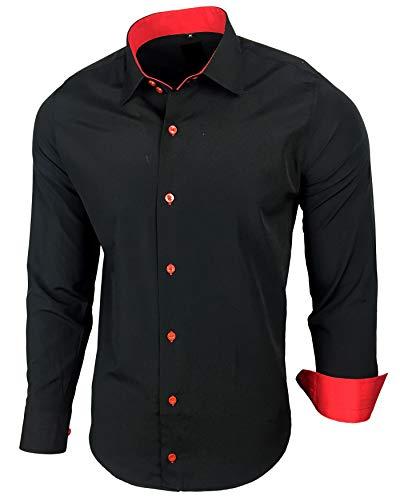 Baxboy Herren-Hemd Slim-Fit Bügelleicht Für Anzug, Business, Hochzeit, Freizeit - Langarm Hemden für Männer Langarmhemd R-44, Farbe:Schwarz/Rot, Größe:L