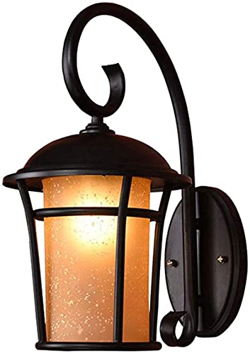 Candeeiro de parede retro antigo E27 Iluminação de parede tanto no interior como no exterior Impermeável IP44 Lâmpada preta Ferro Lâmpada de vidro Abajur abajur para varanda