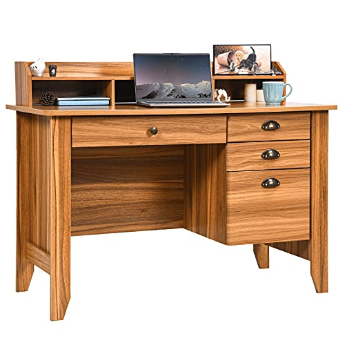 Computer Desk with Drawers and Hutch, Farmhouse Home Office Desk Writing Table Wood Executive Desk Student Desk with File Drawer for Small Space, Bedroom, Rustic Oak