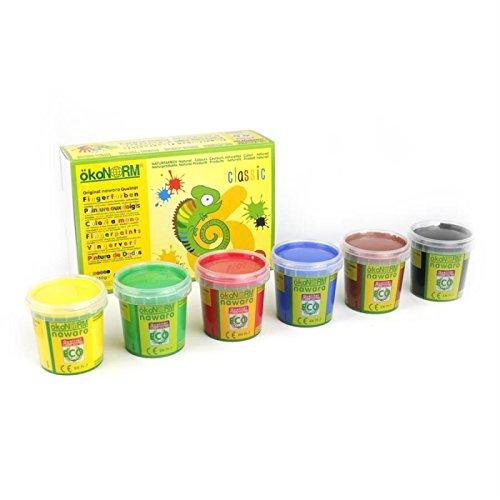 ökoNORM Fingerfarbe 6er-Set aus nachwachsenden Rohstoffen, 6x150g | rot, grün, gelb, blau, schwarz und braun