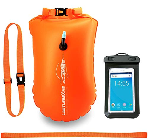 LimitlessXme Schwimmboje & Trockensack — 25l Orange. Sicherheit beim Schwimmen, Open Water und Triathlon. Swimming Buoy, Swim Bubble, Schwimm Boj aufblasbar