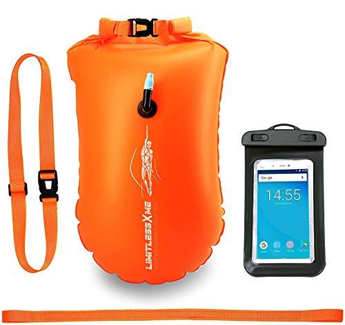 LimitlessXme Boa Gonfiabile per Nuoto Arancione & Sacca stagna incl. Custodia per Il Cellulare – Sicurezza Durante Il Nuoto, in acque libere e per Il Triathlon. Boa Galleggiante, Swim Buoy Bubble…