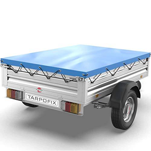 Tarpofix® Anhängerplane Flachplane 2575x1345x80 mm - randverstärkte Anhänger Plane (blau)- langlebige Anhänger Abdeckplane für diverse Stema, Pongratz & Unsinn PKW Anhänger 750 kg I FP4