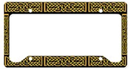 LilithCroft99 Funny Celtic Knot Yellow License Plate Frame Chrome Metal,Novelty License Plate Cover,Auto License Car Tag Holder, Gifts for Men,for Women,Wife,Husband