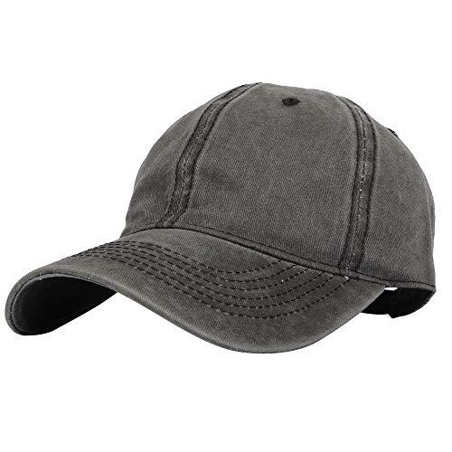 WIM Gorras de béisbol Classic Cotton Hat Low Profile Vintage Baseball Cap KZ10032 (Black)