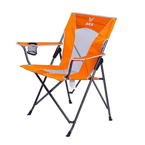 Chaises de camping Compacte, Chaises De Pêche en Plein Air Se Pliant Léger Portatif, Dos en Filet avec Poche Porte-gobelet, Prend en Charge 112 Kg (Color : Orange)