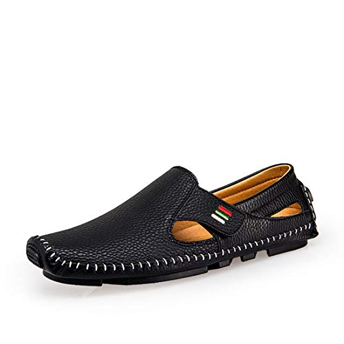 Men's Penny Loafers Driving Shoes Casual Waling Flats Leather Stitched Loafer Shoes(Black 44)