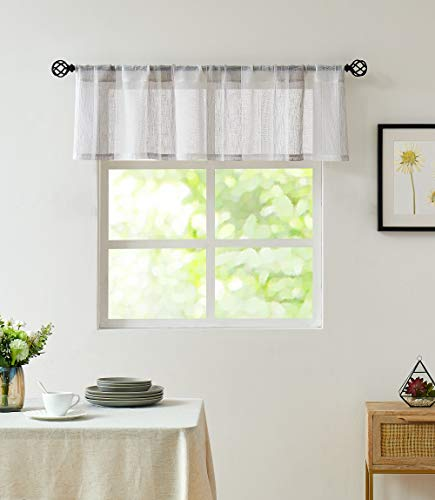 """Central Park Gray and White Kitchen Window Curtain Valance Vertical Stripe Sheer Boucle Linen Window Curtain, Living Room Decorative Rod Pocket (54"""" W x 15"""" L) Rustic Living Panels"""