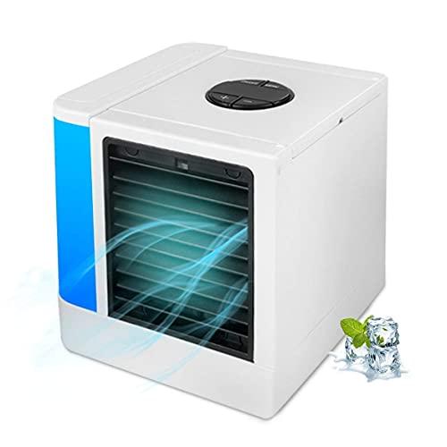 FHDFH Aire Acondicionado Digital, purificador de humidificador portátil 7 Colores LED luz de Escritorio refrigerador de refrigeración Ventilador para Oficina en casa Blanco