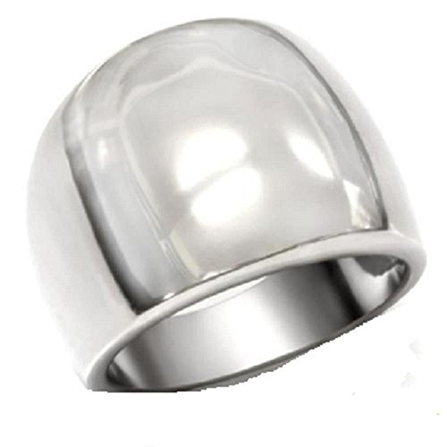 Yourjewellerybox Tk034Pb Wide Dome Thick Chunky Ring Stainless Steel 316L Will Not Tarnish Size L