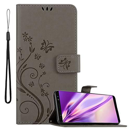 Cadorabo Hülle für Samsung Galaxy Note 8 in FLORAL GRAU Handyhülle im Blumen Design mit Magnetverschluss, Standfunktion & 3 Kartenfächern Hülle Cover Schutzhülle Etui Tasche