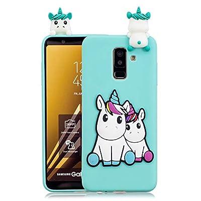 HopMore Compatible con Funda Samsung Galaxy A6 Plus 2018 Silicona 3D Divertidas Panda Animal Carcasa TPU Gel Ultrafina Slim Case Antigolpes Caso Protección Cover Design Gracioso - Unicornio Unicorn