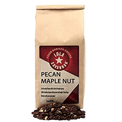 Lola Savannah Pecan Maple Nut Whole Bean Coffee - Crafted Rich Nutty Flavor with Real Pecan Pieces & Hint of Maple Syrup | Caffeinated | 2lb Bag