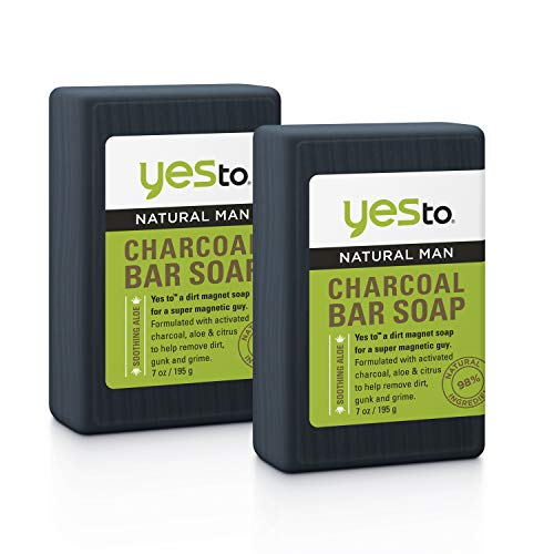 Yes To Natural Man Charcoal Bar Soap For All Skin Types With Soothing Aloe + Citrus + Activated Charcoal, Aloe Vera, 1 Count