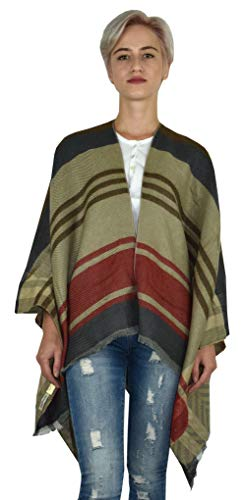1st American Poncho Mujer - suéter de Invierno para Mujer -Capota Disponibles