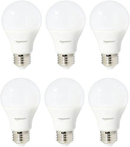 AmazonBasics 40 Watt Equivalent, Soft White, Non-Dimmable, A19 LED Light Bulb | 6-Pack