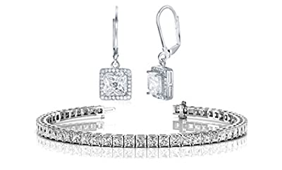 NYC Sterling Halo Drop Earrings and Tennis Bracelet Bridal Gift Set (Princess Cut)