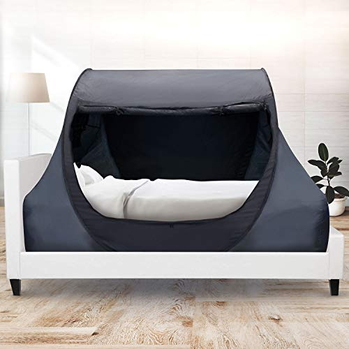 Winterial Indoor Privacy Bed Tent - Slip Over Mattress Pop Up Fort Bed Canopy, Great for Boys, Girls, Teens or Adults, Cozy Foldable Tent for Any Bedroom, Dorm Room or Shared Room (Twin)