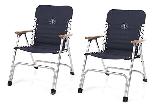2er SET - Stilvolle, faltbare Bootsstühle in marineblau mit hölzernen Armlehnen + Kompassaufdruck