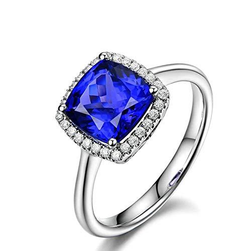 Daesar Ring 18 Karat Weißgold Damen Halo mit 2.35ct Rechteck Tansanit Trauring Ring Weißgold Diamant Gr.63 (20.1)