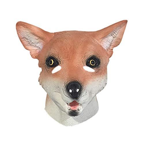 Evin Latex Tiermaske, Fox-Tier-Latex-Maske, Realistisch Tierkopfschmuck Maske, Erwachsene Person Prom Rollenspiele Kopftuch (One Size)