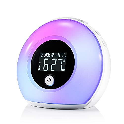 Lichtwecker mit Bluetooth Lautsprecher, ZOTO Wake Up Licht Kinderwecker mit LCD Display, 5 Farbeinstellung, 4 Helligkeit, und Vibration Induction Nachtlicht für Kinder, Schlafzimmer