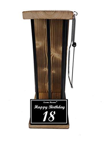 Happy Birthday 18 Geburtstag - Eiserne Reserve ® Black Edition - Rohling zum SELBST BEFÜLLEN - Größe L - incl. Säge - 18 Geburtstag Geschenk Idee für Männer & Frauen Geschenke zum 18 Geburtstag