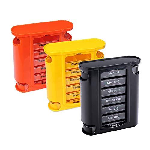 Schramm® 3 Stück Sonderposten Tablettenbox orange, schwarz und gelb Pillen Tabletten Box Schachtel Tablettendose Pillendose Pillenbox