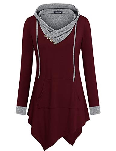 Miagooo Uneven Hemline Hoody Shirt Pocket Tunic Long Sleeve Casual Tops (X-Large, Wine)