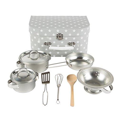Sass & Belle–Kinder Kochtopfset in grau aus Metall (Grau / Sterne, Töpfe)
